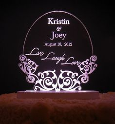 Live Laugh Love  Wedding Cake Topper   Engraved & by artZengraving