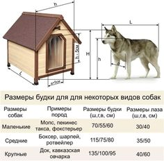 Размеры будки для некоторых видов собак.