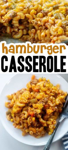 Easy cheesy hamburger casserole! Made with ground beef, macaroni, mixed veggies, and tomato soup! #hamburgercasserole #casserole Supper Recipes, Delicious Dinner Recipes, Oven Recipes, Crockpot Recipes, Healthy Recipes, Easy Hamburger Casserole, Casserole Recipes, Low Carb Casseroles, Beef Macaroni
