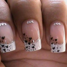 Beautiful nails 2016, Classic french manicure, French manicure ideas, Heart nail designs, Ideas of summer french nails, Manicure by summer dress, Nails with rhinestones, Romantic nails