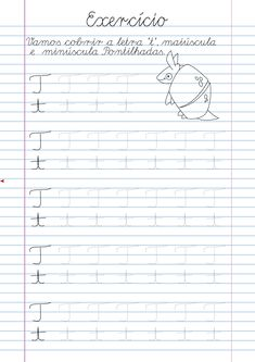 Atividade Letra T pontilhada para imprimir Cursive Writing Practice Sheets, Cursive Writing Worksheets, Alphabet Tracing Worksheets, Tracing Letters, Baby Learning, Preschool Learning, Teaching, Phonics Lessons, Homeschool