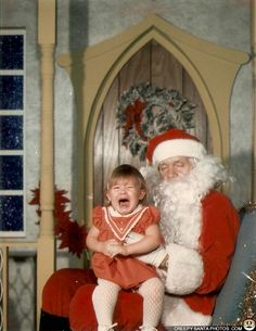 """""""Me sitting on scary sleepy Santa's lap. My mom was his """"elf"""" that year at the mall and she said he smelled like whiskey and hot dog water!"""" Thanks Shannon– very interesting composition skills by the photographer, BTW. """"I'VE GOT A FEVER AND THE ONLY CURE IS MORE DOOR!"""""""