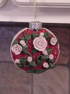 Polymer clay rose Christmas Ornament.  Made by me.
