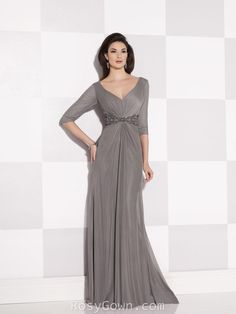 Grey V-neck and Back Half Sleeves A-line Mother of the Bride Dress - looks better in brown, plum or burgundy