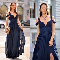 Chiffon prom dress, 2017 Ruffle Dress Flower V-neck A-line Prom Dress/Evening Dress MK596