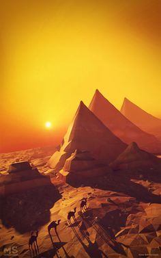 A low-poly paperworld by Mateusz Szulik. I love this faux-paper style. It works well here with the desert. Concept Art Landscape, Fantasy Landscape, Landscape Designs, Landscape Art, Fantasy Art, Landscape Illustration, Illustration Art, Polygon Art, Matte Painting