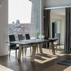 Omnia extending dining table by Target Point, This table comes with wooden legs and the option of a porcelain stoneware or tempered glass top Dining Table, Glass Top, Furniture, Table, Dining Table Dimensions, Dining Room Furniture, Urban Interiors, Home Decor, Extendable Dining Table