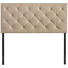 Theodore Beige Diamond-Tufted Fabric Headboard