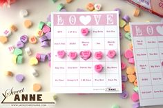 Conversation Hearts Bingo ... Great idea for those older kids parties! FREE printable cards.