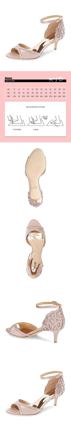 XYD Ballroom Dance Shoes Wedding Sandals Pumps with Rhinestones Ankle Strap Peep Toe Heels for Women Size 11 Pink