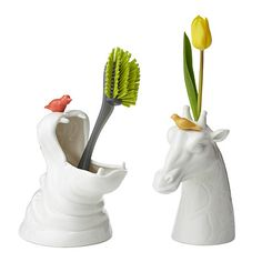 The Giraffe and Hippo Bud Vases are just adorable and look useful too. Playful little birds sit perched atop each glossy white vase adding the Ceramic Animals, Ceramic Art, Ceramic Design, Bud Vases, Flower Vases, Flower Pots, Hippopotamus For Christmas, Clear Glass Vases, Animal Decor