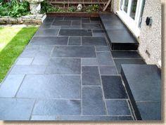 47 Ideas Grey Patio Slabs Slate For 2019 Garden Slabs, Slate Garden, Slate Patio, Garden Tiles, Patio Tiles, Garden Paving, Outdoor Tiles, Outdoor Flooring, Driveway Paving