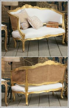 One of a Kind Petite Upholstered Vintage Settee Gilt French Furniture, Classic Furniture, Vintage Furniture, Painted Furniture, Home Furniture, Vintage Settee, Deco Furniture, French Interior, French Decor