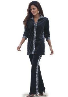 Roamans Plus Size Animal-Blocked Velour Jogging Suit (Black f5968a53a30a
