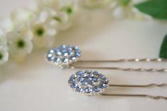Something Blue Hair Pins  Bridal Hair Pins  made with by AngleAh, $30.00