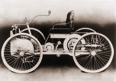 An 1896 Ford, a gasoline-powered motor car, which its maker, Henry Ford, called 'Quadricycle.'