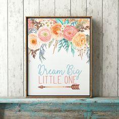 Dream Big Little One- Boho Baby Girl Nursery Decor, Floral Nursery Print, Tribal…