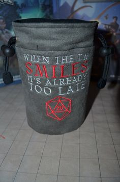 Suede Dice Bag When the DM smiles its too late D20 by UberDungeon