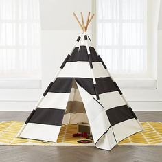 Sale ends soon. Our black and white teepee is designed to match all types of home decor. This striped play teepee is constructed from durable cotton canvas and bamboo. Kids Tents, Teepee Kids, Teepees, Black White Stripes, Black And White, Navy Blue, Teepee Play Tent, Colorful Playroom, Modern Playroom