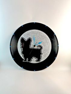 Yorkshire Terrier Dog Silhouette Vinyl Clock by InsaneDotting
