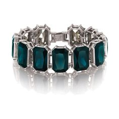 """Color Code Teal Statement Bracelet, $58 (#B225TE) Update your look with a pop of color using this season's go-to statement bracelet, featuring octagon-shaped stones set in chic gallery settings. In one of our favorite hues, this luxe Color Code piece is sure to catch everyone's eye – trust us, it's the teal deal. rhodium ox-plated nickel-free plating 7.5"""" approx. length fold-over closure teal"""