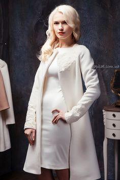 Apilat wedding white collarless wool coat by ApilatCreativeAtelie, $494.00
