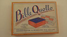 Vintage Bible Quotto Lotto Bingo Game -- Complete the Bible Verse / Quotation, Sunday School Activity, 15 Games Cards, 100 Quotes