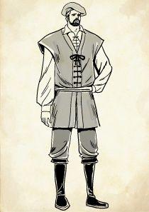 ジャックを着た中世ヨーロッパの庶民の男性のイラスト メンズ