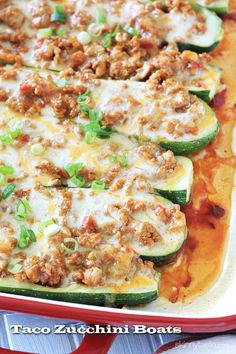 Taco Stuffed Zucchini Boats – skip the taco shells and make these low carb turkey taco zucchini boats instead, so good!