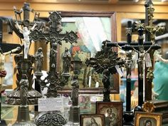 Antique Crucifix   Ebonized Wood Crucifix Dates to Late 1800's $115  1800's Wood Crucifix  Bronze Corpus, Worn With Adoration  $115  Vintage/Antique Crucifix  With Mary At The Foot of he Cross Unusual $145  Antique Bronze Crucifix  Made in Belgium $175  1800's Crucifix With Mary and Saint John and Pair of Matching Candlesticks $295  Other Religious Items Also Available including Portraits, Rosaries and More.  Dealer #919  Forestwood Antique Mall  5333 Forest Ln Dallas, TX, 75244