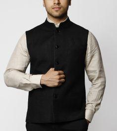 Black Silk Nehru Jacket