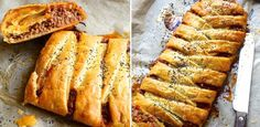 A spicy meat and sweet pepper filling generously spiked with Manchego cheese Pastry Recipes, Pie Recipes, Dinner Recipes, Mexican Pastries, Easy Weekday Meals, Manchego Cheese, Savory Tart, Plait, Stuffed Sweet Peppers