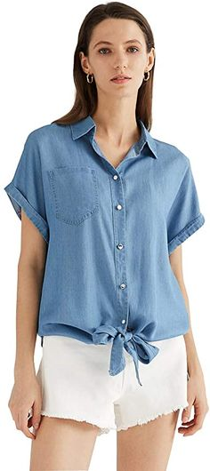 Escalier Women's Denim Button Down Tie Front Shirt Chambray Tencel Short Sleeve Blouse Top Light Blue Small at Amazon Women's Clothing store Sleeveless Denim Shirts, Short Sleeve Denim Shirt, Shirt Blouses, Long Sleeve Tops, Jean Shirts, Tank Top Shirt, Chambray, Blouses For Women, Clothes