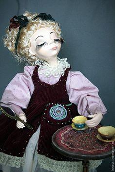 Купить Музыкальный вечер - бордовый, кукла ручной работы, кукла в подарок, винтажный стиль, винтаж