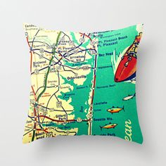 Map Pillow New Jersey Shore Seaside Park by VintageBeachMaps