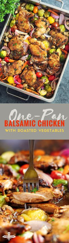 One-Pan Balsamic Chicken with Roasted Vegetables - StreetSmart Kitchen Balsamic Chicken, Balsamic Onions, Balsamic Glaze, Clean Eating, Healthy Eating, Cooking Recipes, Healthy Recipes, Diabetic Recipes, Healthy Meals