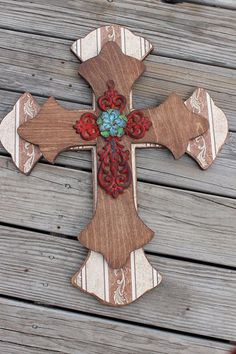 Western Decor Wall Cross Red & Brown