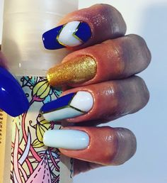 Nails blue/cobalt/gold 😍