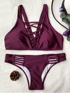 $20.49 Crisscross Strap Padded Bikini Set - BURGUNDY S