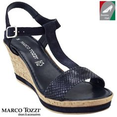 Marco Tozzi női bőr szandál 2-28364-28 890 sötétkék kombi Wedges, Sandals, Shoes, Dresses, Fashion, Shoes Sandals, Zapatos, Gowns, Moda