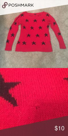 Express sweater Express star sweater. Perfect for the cold months to come. Does have 1 small flaw as shown in picture #2. It's located at the bottom of the sweater so it's not noticeable once it's on! Offers accepted. Great discounts on bundles of 2 or more! Express Sweaters Crew & Scoop Necks