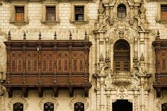 Peru, Lima, Decorated carved wooden balcony on Archbishop's Palace, Palacio Episcopal.    (via lajoiedespetiteschoses)