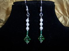 Beautiful Green Bead and White Pearl Earrings by knaaccessories, $12.00