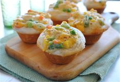 Chicken pot pie cupcakes! I'd make my own dough, but this looks so good and cute!