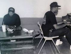 Eazy-E & Dr. Dre back in the N.W.A days! ""