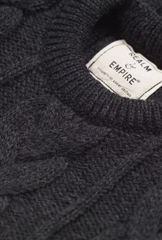 Realm and Empire Cable Knit Crew Charcoal