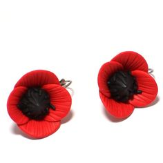 Handmade red poppies unique earrings (180 CNY) ❤ liked on Polyvore featuring jewelry, earrings, earring jewelry, red jewellery, poppy earrings, poppy jewellery and red earrings