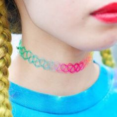 Brandy Melville - 90's Rainbow Tattoo Choker from Jesse's ...