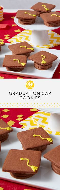 Celebrate your graduate with these cute Graduation Cap Cookies! Simply stack four cookies together to achieve the look. These would make the cutest party favors! Customize the treat by using your graduates favorite cookie recipe! Graduation Desserts, Graduation Cupcakes, College Graduation, Favorite Cookie Recipe, Cookie Pops, Cookie Time, Wilton Cakes, Food Decoration, Fondant