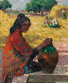 Alberto Pla Y Rubio Mujer con Cantaro hand painted oil painting reproduction on canvas by artist Value Painting, Art And Hobby, Impressionist Artists, Spanish Painters, Figure Painting, Great Artists, Female Art, Art History, Fine Art